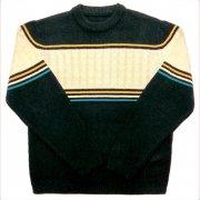 1970 年代 U.S.A. Ski Sweaterl ヴィンテージ アラン模様 スキーセーター カラー:濃紺/乳白色/コン/金茶/緑 系  サイズ:L位