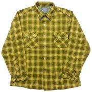 1960 年代 U.S.A. PENDLETON ペンドルトン ヴィンテージ ボードシャツ ウールシャツ チェック柄 カラー:オリーブ・薄緑 系 表記サイズ:L