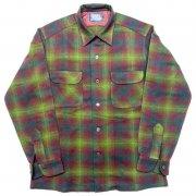 1960 年代 U.S.A. PENDLETON ペンドルトン ヴィンテージ ボードシャツ ウールシャツ オンブレーチェック カラー:赤・緑・黃 系 表記サイズ:M