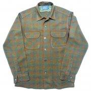 1950 年代 U.S.A. PENDLETON ペンドルトン ヴィンテージ ボードシャツ ウールシャツ オンブレー チェック柄 カラー:薄茶・薄緑 系 表記サイズ:S