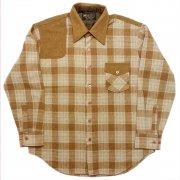 1970 年代 U.S.A. K-mart Kマート ヴィンテージ ウールシャツ チェック柄 カラー:黄金色・薄青色 系 表記サイズ:L