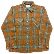 1960 年代 U.S.A. the Treasury ヴィンテージ ボードシャツ ウールシャツ チェック柄 カラー:茶・青・紺 系 表記サイズ:M