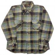 1960 年代 U.S.A. Sir Walter ヴィンテージ ウールシャツ チェック柄 ツインボタン カラー:緑色・黒色 系 表記サイズ:L