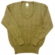 1980 年代 German ドイツ軍 ヴィンテージ Vネックセーター リブ編み カラー:オリーブグリーン サイズ:L 位