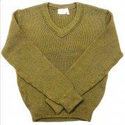 1980 年製 French army フランス軍 GILLES ヴィンテージ デッドストック Vネックセーター リブ編み カラー:オリーブグリーン サイズ:S 位