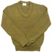 1984 年製 French army フランス軍 GILLES ヴィンテージ Vネックセーター リブ編み カラー:オリーブグリーン サイズ:S 位