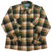 1970 年代 U.S.A. PENDLETON ペンドルトン Pure virgin Wool ヴィンテージ ボードシャツ ウール チェック カラー:緑・茶・乳白色 系 サイズ:S 位