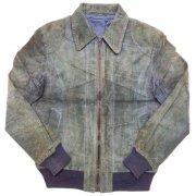 1980 年代 Europe Leather Jacket Suede ヴィンテージ レザージャケット Echtes Leder スウェード 本革 カラー:黒紺 系 表記サイズ:50