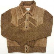 1970 年代 U.S.A. Leather Jacket Suede/Knit レディース ヴィンテージ Split leather スウェード/ニット ジャケット 本革 カラー:茶 系 サイズ:M