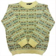 1970 年代 U.S.A. Nordic Sweater ヴィンテージ ブリティッシュウール ノルディックセーター ジャガード織り メンズ 雪結晶柄 カラー:象牙色/青/茶 系 表記サイズ:M