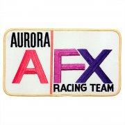 1970年代 U.S.A. DeadStock デッドストック 企業ワッペン 刺繍 大判サイズ Aurora AFX Racing Team オーロラAFX 赤・黒・紫 サイズ:223ミリx127ミリ