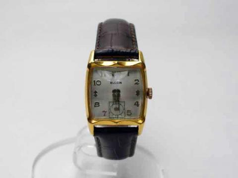 Vintage【Elgin/エルジン】1950s・カットガラス・10KRGPゴールド・スモールセコンド・手巻き/OH済