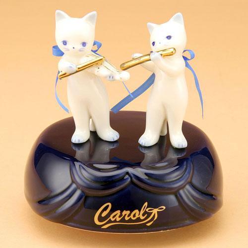 CR212/キャロル オルゴール ペアA バイオリン/フルート (陶器製品)