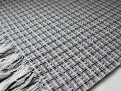 【糸あそび】 リボンストール (ホワイト&ブラック)