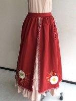 マーガレット刺繍入り4枚はぎオーバースカート W63GA02/WONDERFULWORLD/ワンダフルワールド