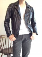 1970's British Leather Rider's Jacket Black��1970ǯ�奤���ꥹ���쥶���饤���������㥱�åȡ�<img class='new_mark_img2' src='http://mamechico.jp/img/new/icons3.gif' style='border:none;display:inline;margin:0px;padding:0px;width:auto;' />