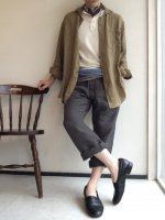 antiqued shawlcollar linen shirtcoat darkbeige/DjangoAtour ANOTHERLINE