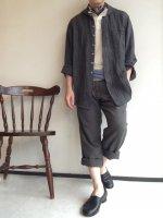 antiqued shawlcollar linen shirtcoat charcoalgrey/DjangoAtour ANOTHERLINE