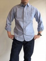 ナローカラーシャツ ブルーOX Narrow Collar Shirt, Blue OX/Workers