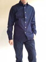 ワイドスプレッドシャツ ブラッシュドツイル  ネイビー Wide Spread Shirt,Brushed Twill, Navy/Workers