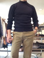 Seamless Naval Sweater Navy Fine Merino Wool(メンズ38)/Kaptain Sunshine