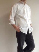バンドカラーシャツ ホワイト Band Collar Shirts White/Yarmo
