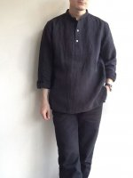 アンティークドリネンシャツ チャコールグレー antiqued linen work shirt charcoalgrey/DjangoAtour ANOTHERLINE