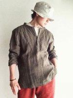 アンティークドリネンシャツ セピア(メンズM) antiqued linen work shirt sepia/DjangoAtour ANOTHERLINE