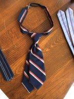 ヴィクトリアンズショートタイD  victorians tie (band teck tie)darknavy x beige x red stripe/DjangoAtour