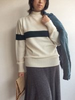 Seamless Naval Sweater White×Green Fine Merino Wool/Kaptain Sunshine
