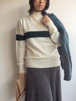 Seamless Naval Sweater White×Green Fine Merino Wool/Kaptain Sunshine