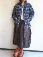 ショールカラージャケットコットンリネンインディゴチェック Shawl Collar Jacket, Cotton Linen Indigo Check/Workers
