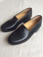 スリップオン キップレザーシューズ黒 slip on kipleather shoes black/DjangoAtour