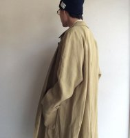 1970年代イギリスのリネンダスターコート/1970's British Linen Duster Coat by Aquascutum Mustard