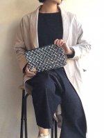 ツイードポーチ 青×黒(Sサイズ)FOLDER PETIT TWEED/NOMAD