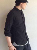 フレンチリネンイージーシャツ ブラック(メンズM)frenchlinen easy shirt  black/DjangoAtour