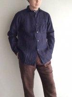 クラシックフレンチワークインディゴリネンシャツ classic frenchwork indigolinen shirt/DjangoAtour ANOTHERLINE