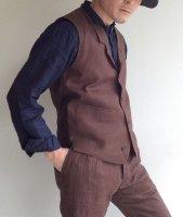 DAリネンウエストコート ブラウン da linen waistcoat brown/DjangoAtour