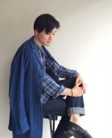 アナザーラインリネンコート フレンチブルー anotherline linen coat frenchblue/DjangoAtour ANOTHERLINE