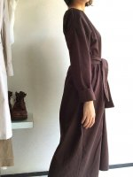 スモックドレス Smock Dress with Belt Brown(One Size)/Yarmo