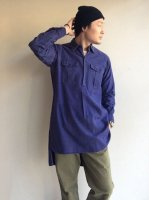 1950年代フランスのワークシャツ 1950's French Work Shirt with ceramic Button Blue