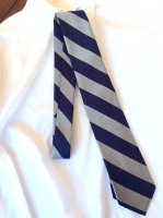 Silk Repp Tie, Navy Heather Grey/Workers