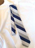 Silk Repp Tie, Heather Grey Navy Silver/Workers