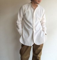 Band Collar Shirt, White Chambray/Workers