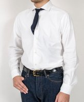 Wide Spread Shirt, White Spima OX/Workers