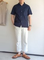 Open Collar Shirt, Navy Cotton Linen/Workers