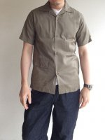 Open Collar Shirt,  Khaki Cotton Linen/Workers