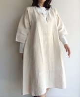 1900〜1920年代フランスアンティーク・リネンのスモックドレス 1900-1920's Antique French Linen Pullover Dress