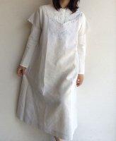 19世紀後半〜1900年代初頭フランスアンティーク・リネンのドレス 1900-1920's Antique French Linen Dress Butterfly  White