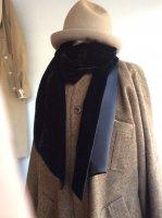 silk and velvet stole(silk inkblack x velvet black)/DjangoAtour